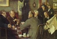 café med kortspillende herrer by oluf simony jensen