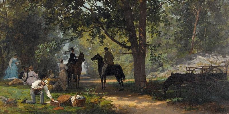 feine gesellschaft beim picknick im wald by marie françois firmin girard