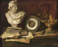 a still life with flowers, a bottle, a bust, sketches and books by henri frédéric boot