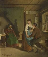 tändelndes junges paar vor der sitzenden schlafenden großmutter in schwäbischer stube by hermann volz