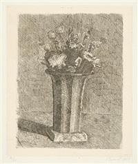vaso a strisce con fiori by giorgio morandi
