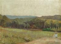 udsigt over eng, skov og hav med kvinde i forgrunden by georg jacobsen