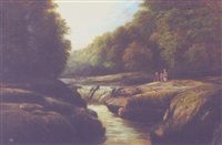 river landscape with peasants by j. mellor