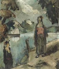zwei mädchen am flussufer by ludwig wilhelm grossmann