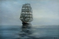 the clipper ship mount stewart tons, built 1891 by barclay, curle, glasgow, in a calm sea at the break of dawn, with a navigation light glowing by henri louis scott
