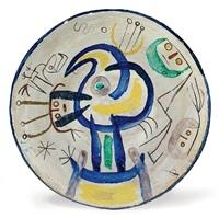 plat personnage bleu jaune by joan miró and josep llorens-artigas