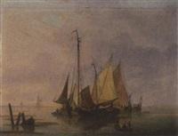fischerboote an der hafenausfahrt by dominique de bast