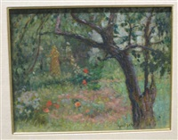 flowering garden with two female figures by gustave f. goetsch