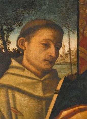 saint francis and a female saint 2 works by francesco rizzo da santacroce