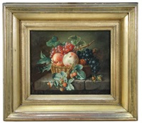 still life of red and black grapes, walnuts, cobnuts, raspberries in a basket on a stone ledge; and still life of roses in a basket (pair) by amalie kaercher