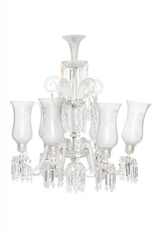Baccarat glass six light chandelier with hurricane shades by baccarat glass six light chandelier with hurricane shades by baccarat aloadofball Image collections