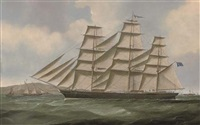 """the clipper """"john r. worcester"""" outward-bound from the clyde passing pladda island by samuel holburn fyfe"""