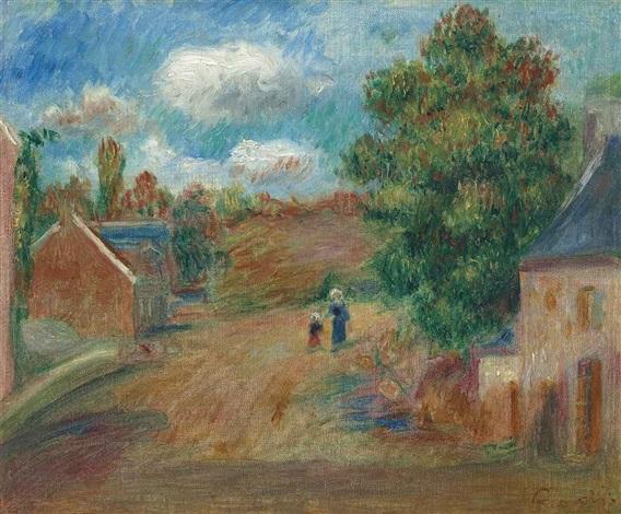 paysage, entrée de village avec femme et enfant by pierre-auguste renoir