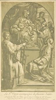 la s. vierge, accompagnée de plusieurs saints by nicolas le sueur