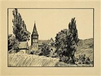 die clemenskirche am rhein (morgenbachtal) by otto ubbelohde