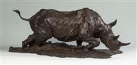 charging rhino bronze sculpture by jonathan kenworthy