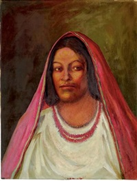 woman with red rebozo by hector moncayo