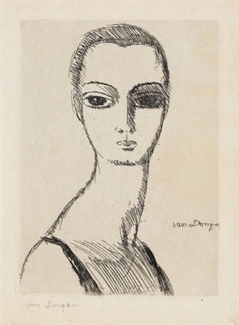 girl with swans neck by kees van dongen