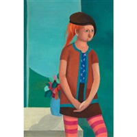 girl with striped stockings by louise scott