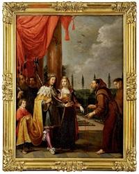 le père dominique de jésus marie ruzzola remettant le scapulaire à ferdinand ii du saint empire et à sa femme éléonore de mantoue, durant la guerre de trente ans by david teniers the elder