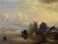 seeuferlandschaft mit anliegenden segelbooten und einem vollbesetzten kahn by egidius linnig