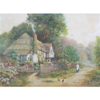 figure and chickens in lane outside a thatched country cottage by arthur claude strachan