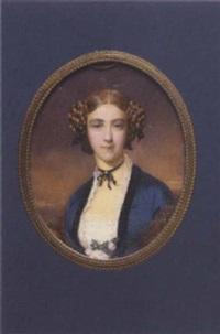 brustporträt einer jungen frau mit schneckenfrisur und blauem kleid mit spitzendekolleté by georg raab