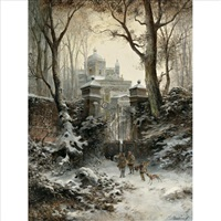 hunters returning to their palace in winter by e. lermontoff