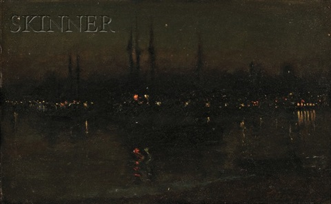 dorchester bay at night by frank hector tompkins