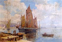 harbor scene with sailboat by george a. newman
