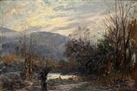 contadina lungo il ruscello by leonardo roda