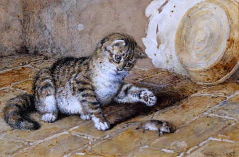 the christmas basket untitled cat and mouse pair by frank paton