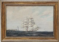 clipper ship off a lighthouse point by t. bailey