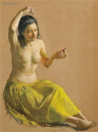 seated female nude in a chartreuse skirt by ivan g. olinsky