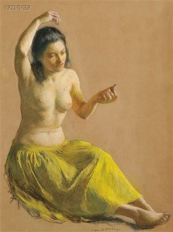 seated female nude in a chartreuse skirt by ivan g olinsky
