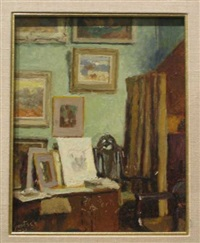 studio interior with green walls and paintings by gustave f. goetsch