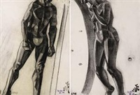 裸女立像/男人体肖像 (两幅) (female nude & male figure study) (2 works) by yun gee