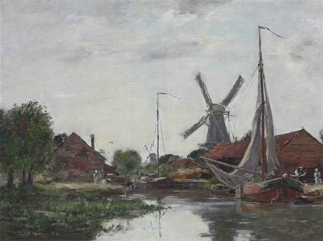 dordrecht moulin sur la meuse by eugène boudin