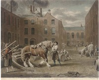 a view form the east-end of the brewery chiswell street (by w. ward) by george garrard