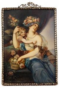 bildnis einer jungen dame als blumengöttin flora mit dem amorknaben by augustin ritt