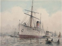 "the ""tantallon castle"" under tug escort on the thames off greenhithe by john robert charles spurling"