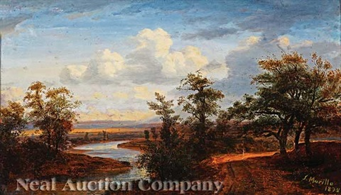 solitary figure on a rutted road beside a river by salvador murillo