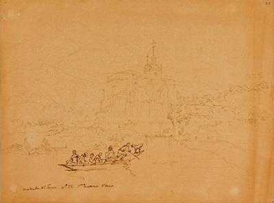 vista de iglesia con río y embarcaciones by genaro perez villaamil