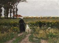 heimkehrende bäuerin am sommerabend by wilhelm bartsch