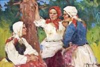 ohne titel (drei mädchen in arbeitstracht im grünen stehend) by fotij stepanowitsch krassitzkij