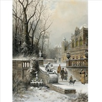 a noble family leaving their palace in winter by e. lermontoff