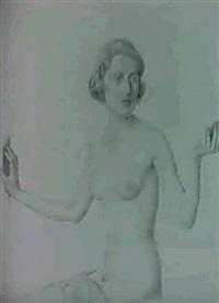 sitzender weiblicher akt mit spiegel by viktor hammer