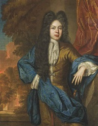 portrait of a gentleman, three-quarter-length, in a yellow jacket with a blue wrap and lace cravat, standing before a red curtain, a landscape beyond by john kerseboom