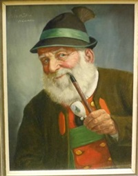 bust-length portrait of bearded man with pipe by fritz muller