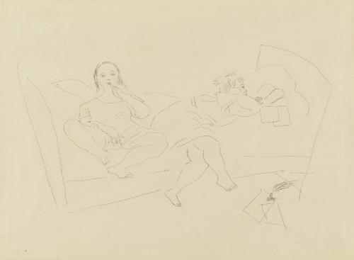 deux femmes assises by jules pascin